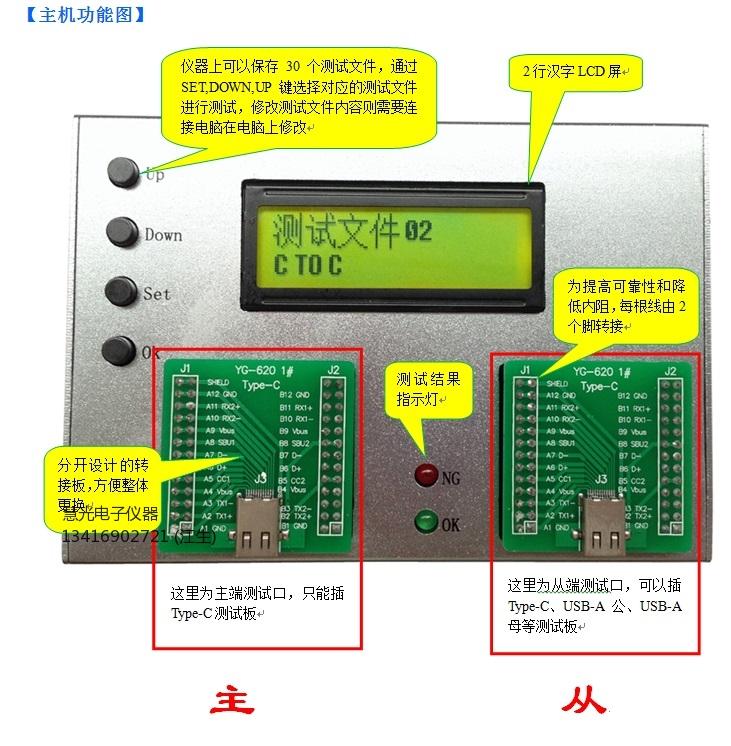 Type-C对USB3.0数据线综合测试仪YG620type-c数据线充电线测试仪